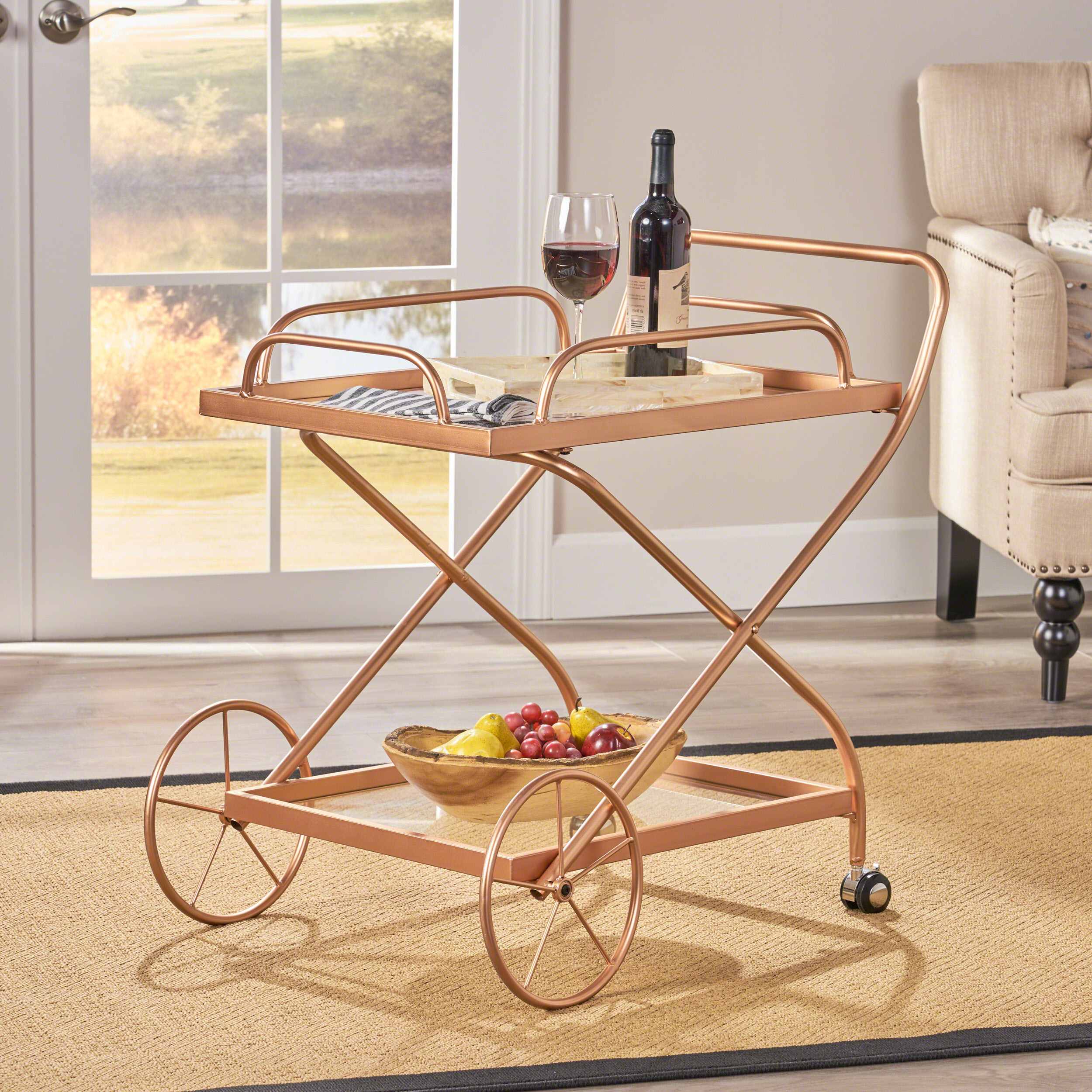 Noble House Traditional Iron and Glass Bar Cart, Rose Gold
