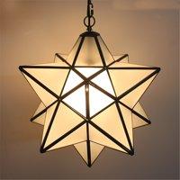 "Antique Moravian Star Pendant Light Metal Glass Shade Lamp Ceiling Lights 11.8"""