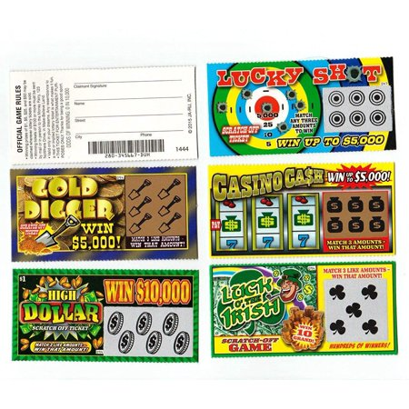 Cp Usa 5 FAKE ALL WINNING SCRATCH OFF LOTTERY TICKETS PRANK GAG JOKE Authentic Looking
