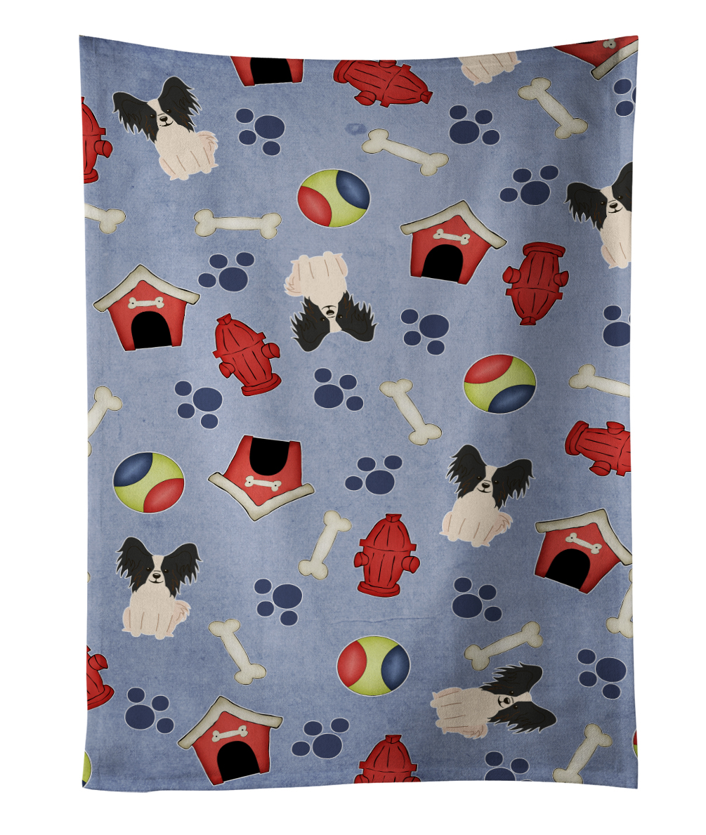 Dog House Collection Papillon Black White Kitchen Towel BB2689KTWL by Caroline's Treasures