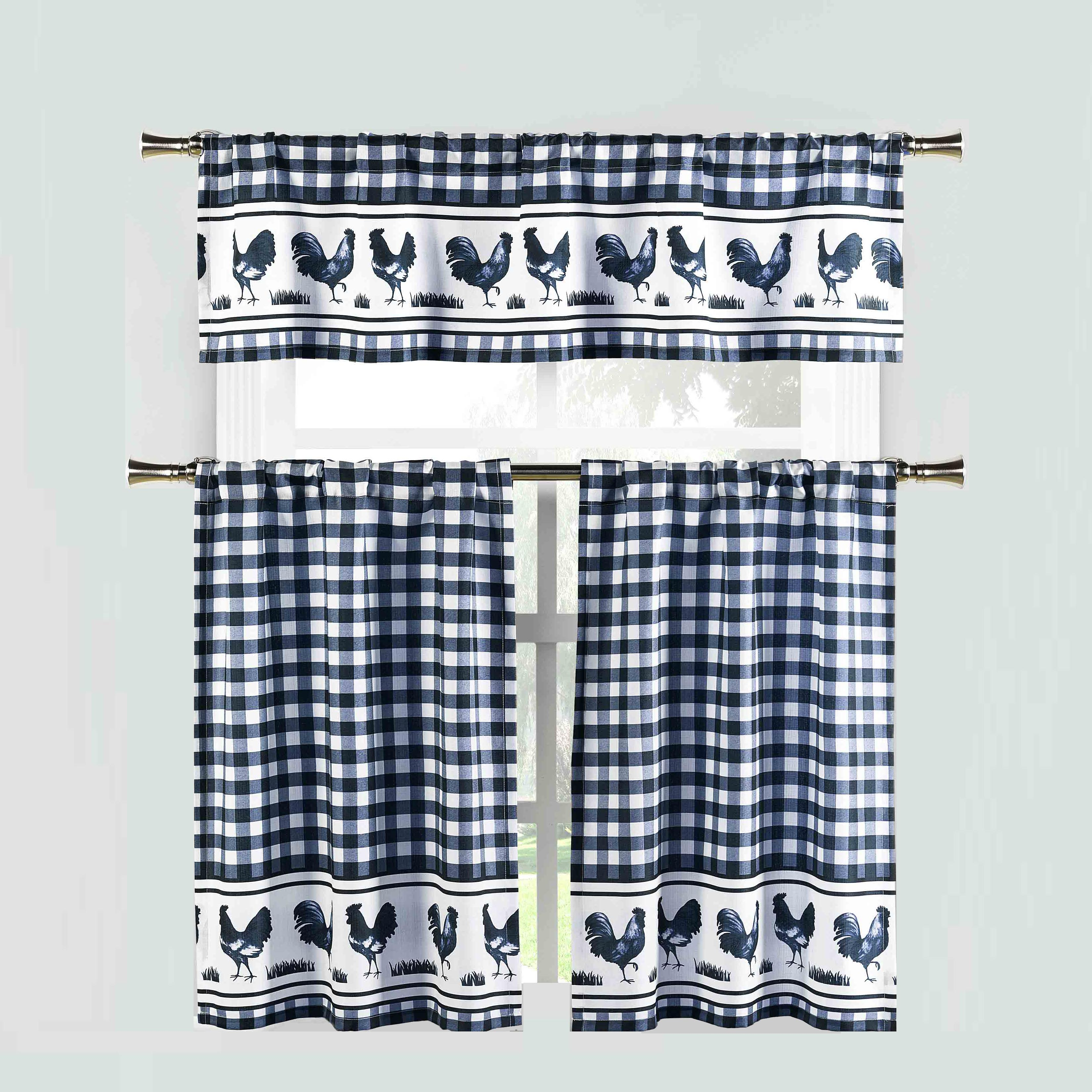 Navy 3 Piece Window Curtain Set: Gingham Check and Rooster Design