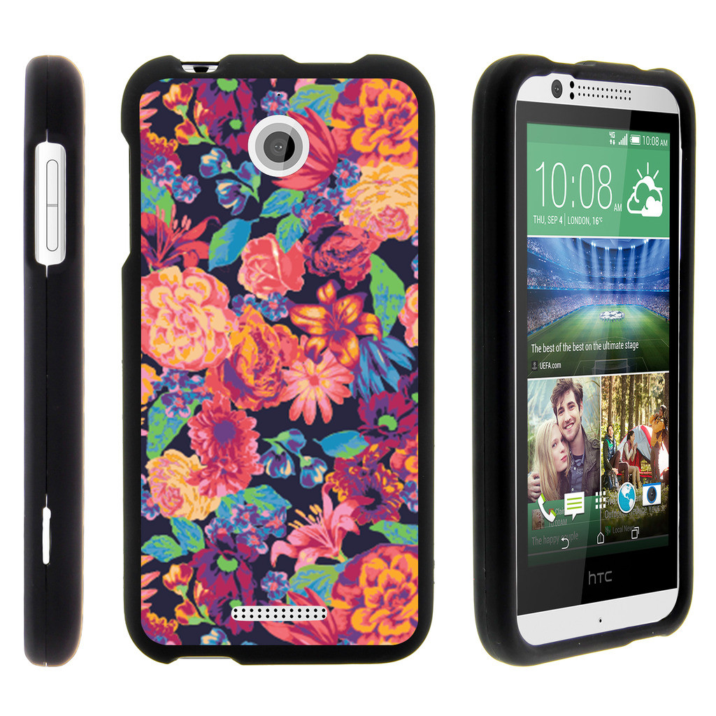 HTC Desire 510, [SNAP SHELL][Matte Black] 2 Piece Snap On Rubberized Hard Plastic Cell Phone Case with Exclusive Art - Floral Dream