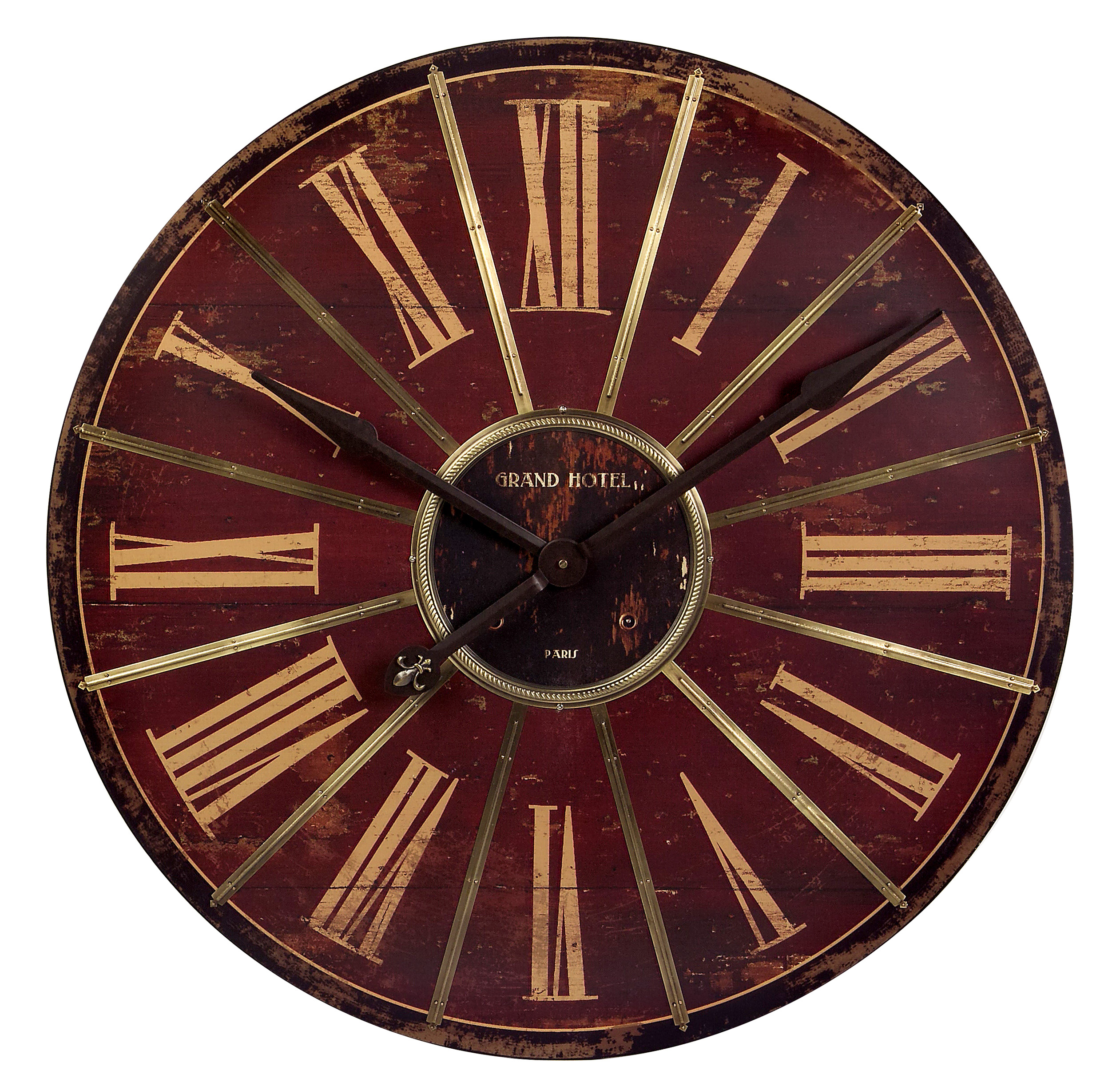 Vintage Beauty Large Red Wall Clock