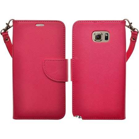 new arrival f571a afc54 Samsung Galaxy S6 Edge Plus Wallet Case, Wrist Strap Magnetic Flip  Fold[Kickstand] Pu Leather Wallet Case with ID & Card Slots for Galaxy S6  Edge Plus ...