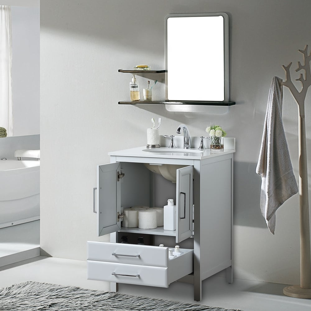 "vanity art 24"" single sink bathroom vanity cabinet 1-shelf"