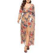 Noroomaknet Maxi Dresses for Women Plus Size ,Womens Long Dresses for Autumn,Long Sleeve V-neck Printing Dress,Khaki