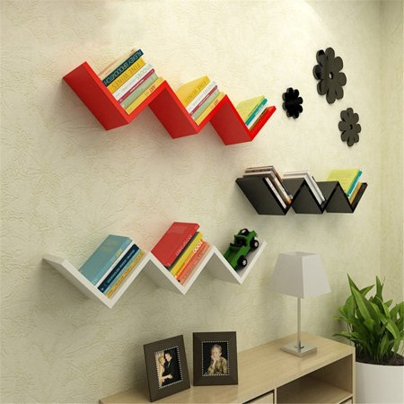 EECOO Wall Mount Hanging Shelf,Modern Design Floating Shelves Wall Book CD Lounge Shelf(Black)