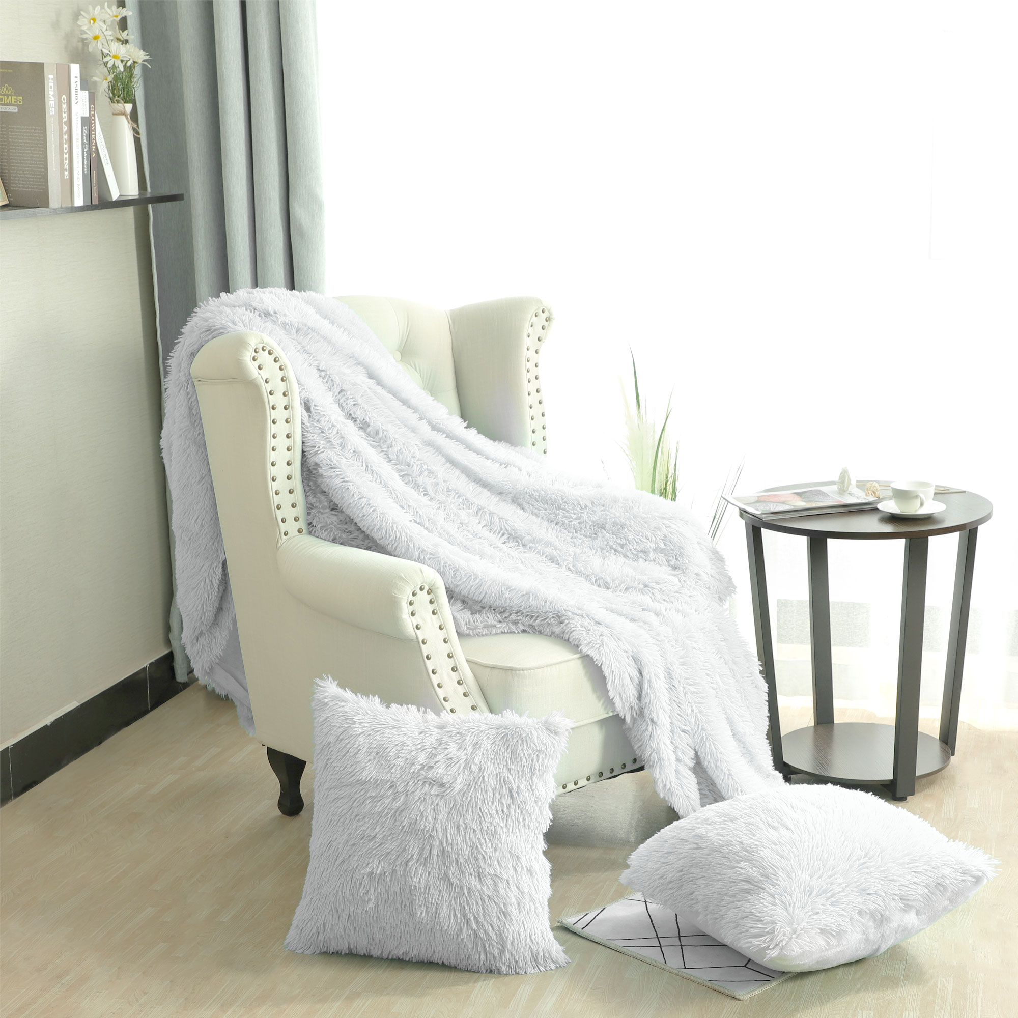 Lightweight Soft Shaggy Faux Fur White Throw Blanket with Pillow Case Set