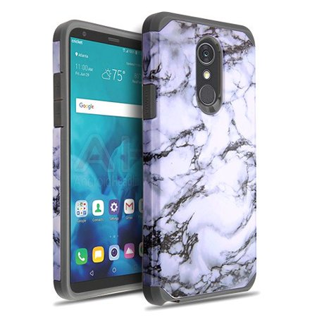 Phone Case for Lg Stylo 4 - Phone Case Shockproof Hybrid Rubber Rugged Case Cover Slim Marble White Marbling and Iron (2 Iron Hybrid)