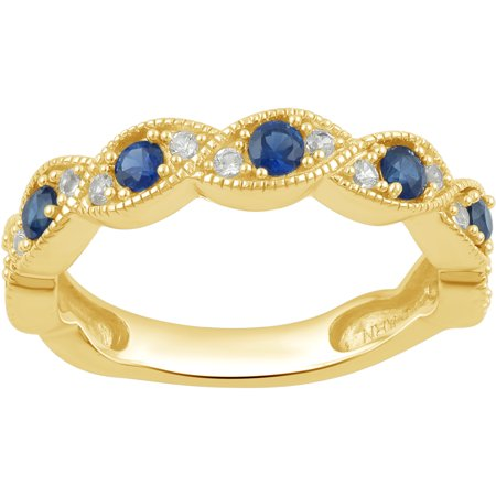 Diamond Accent And Blue Sapphire Gold Tone Sterling Silver Anniversary Band ()