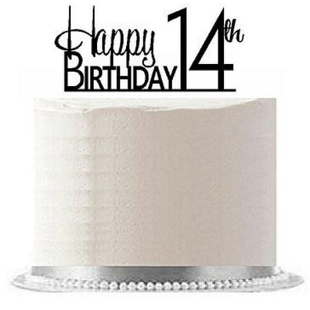 ItemAE 117 Happy 14th Birthday Agemilestone Elegant Cake Topper