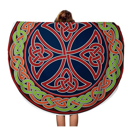 SIDONKU 60 inch Round Beach Towel Blanket Knot Celtic Cross Circle Border Pattern Tribal Trinity Gaelic Travel Circle Circular Towels Mat Tapestry Beach Throw
