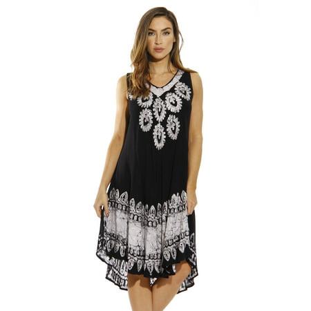 7937d22791b Riviera Sun Dress / Batik Dresses for Women (Black Denim, Large)