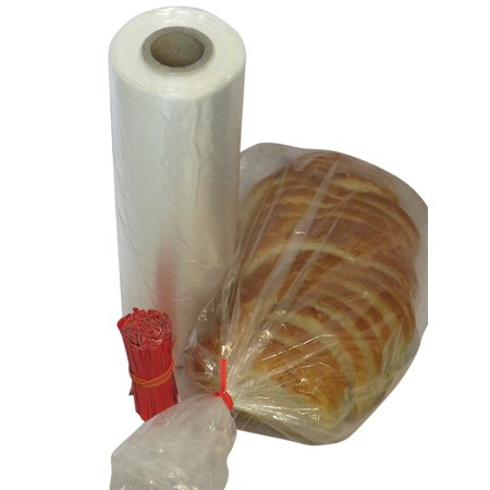Plastic bread and Grocery Clear Bag on Roll 12x20 1 Roll/cs appx. 350 bags- with Free Twist Ties ()