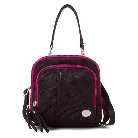Haiku Women's Pouch Mini Eco Crossbody Bag, Black/Magenta