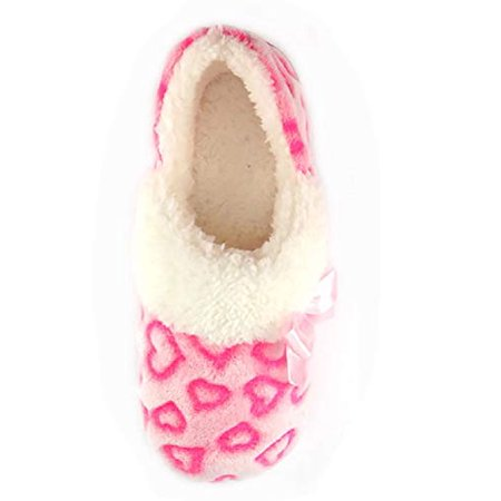 Baby Girls Pink Hearts with Bow Aline Fur Slipper (6)