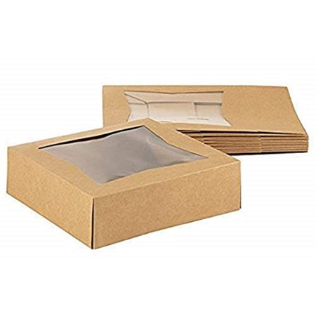Window Treat Boxes (Kraft Paperboard Popup Window Box - Pack of 10 Brown Kraft Paperboard Pop-Up Window Box, Pastry & Cake Bakery Boxes with Plastic Window, 8 x 8 x 2.5)
