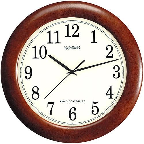 """La Crosse Technology 12"""" Atomic Analog Wall Clock, Walnut"""