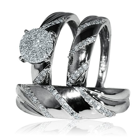 Midwest Jewellery His And Her Rings Set Trio Wedding Rings 1 3cttw Diamonds 10k White Gold I J Color 0 33cttw
