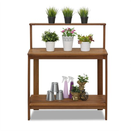 Awe Inspiring Furinno Tioman Outdoor Hardwood Potting Bench Natural Finish Caraccident5 Cool Chair Designs And Ideas Caraccident5Info