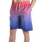 LELINTA Mens Board Shorts Swim Trunks, Mens Print Long Trunk Swimwear Breathable and Elastic Waist Drawstring, Green/ Red, Up to size 3XL