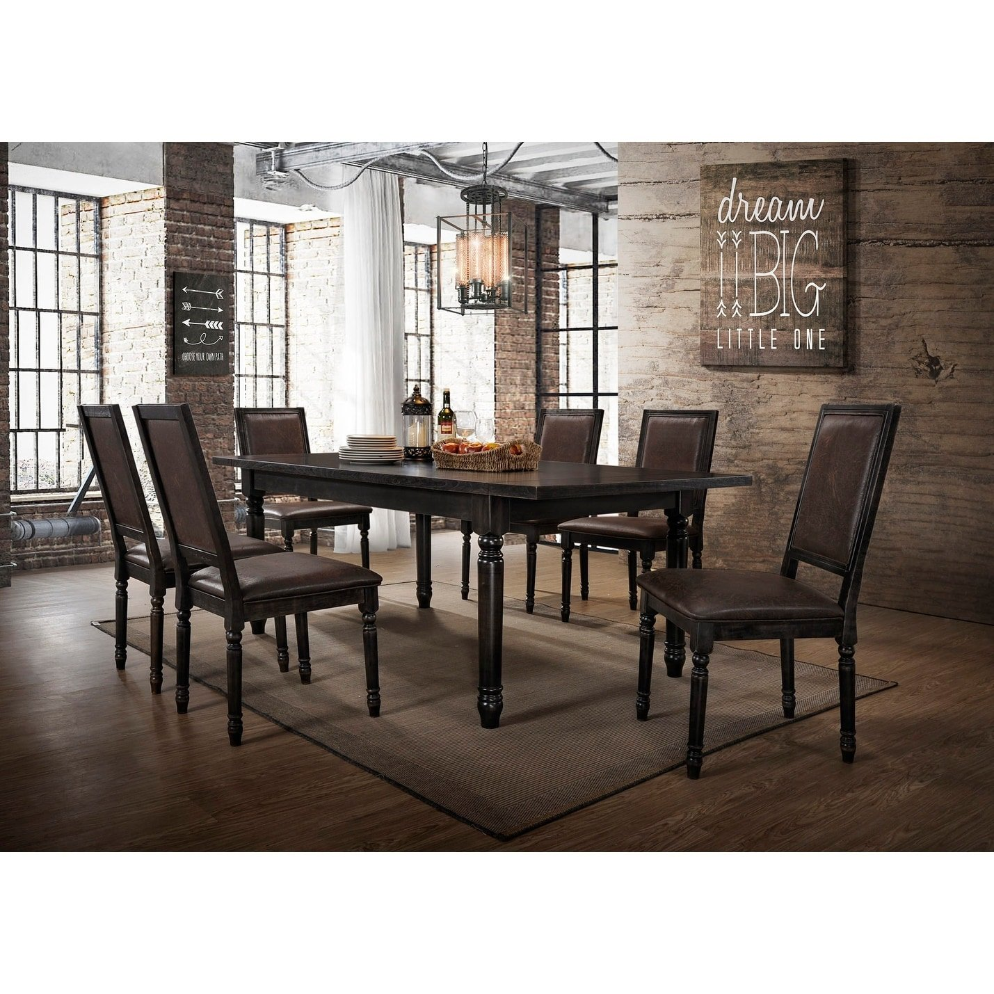 Best Master Furniture Megan Antique Black 7 Pcs Dining Set