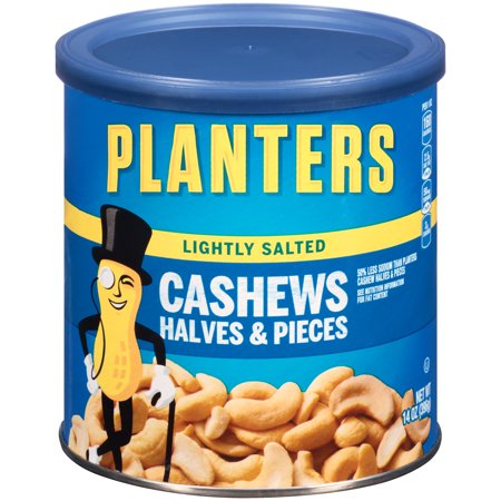 Planters Lightly Salted Cashews Halves & Pieces, 14.0 oz Canister