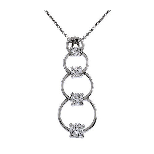 Rozzato Circle Journey Diamond Silver Pendant