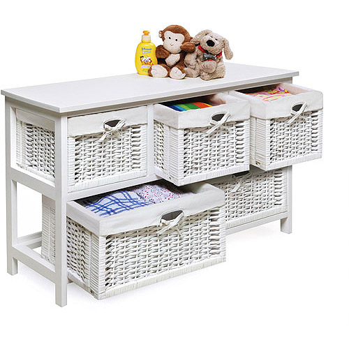 Badger Basket   Wooden Storage Cabinet With Wicker Baskets, White