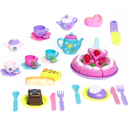 Best Choice Products 37-Piece Pretend Kitchen Cake Tea Foods Kids Party