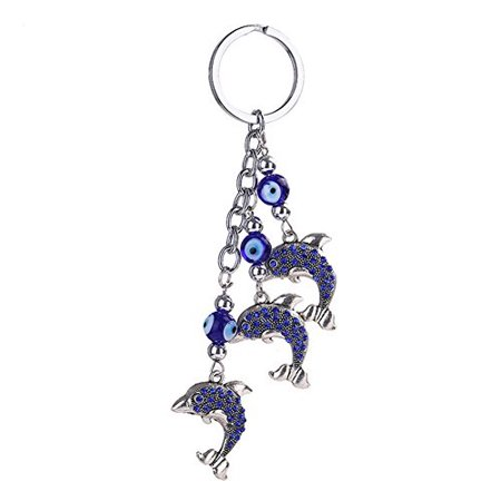 Elephant Key - Afco Blue Evil Eye Key Chain Cute Elephant Dolphin Animal Pendant Car Handbag Keyring