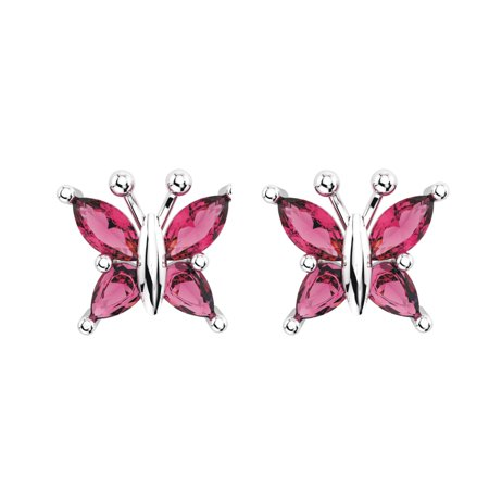 Sterling Silver Marquise Cut Pink Tourmaline Butterfly Stud Earrings with Push (Marquise Cut Earrings)