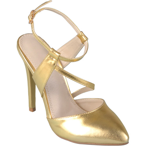 Brinley Co. Womens Almond Toe Ankle Strap High Heels