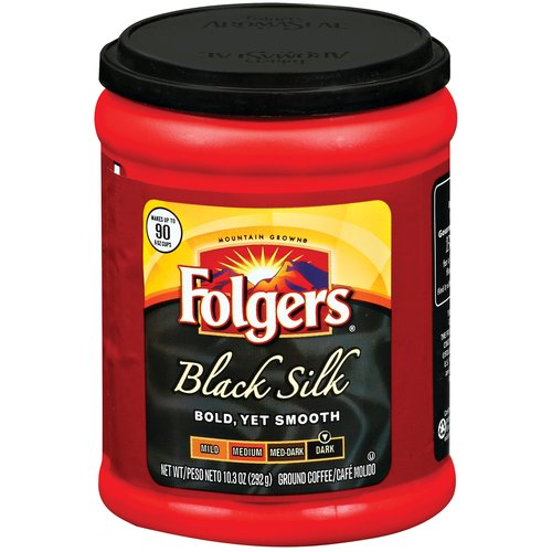 Folgers Black Silk Dark Roast Ground Coffee, 10.3 oz