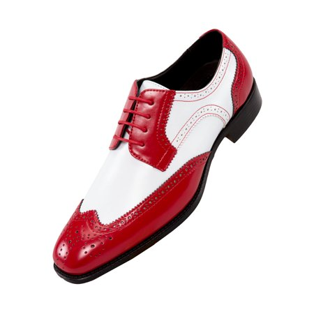 Perforated Wing Tip - Bolano Mens Classic Smooth Dress Shoe with Wing-Tip and Perforated Detailing Style Elwyn