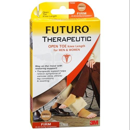 FUTURO Therapeutic Knee Length Stockings Open Toe Firm Small Beige 1 Pair (Pack of 3)