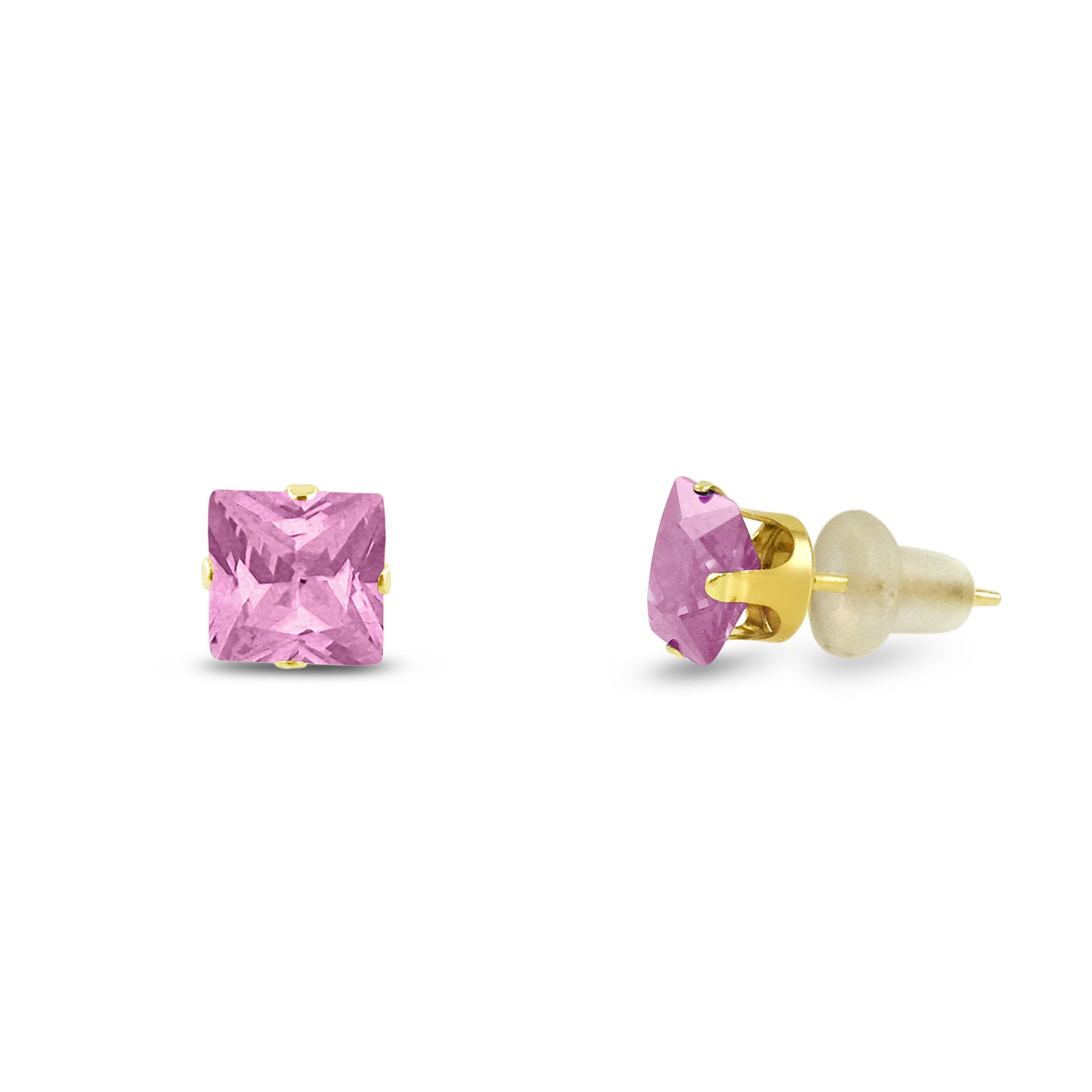 2x2mm Square Princess Cut Pink Cubic Zirconia Solid 10K Yellow Gold 4-Prong Set Baby Stud Earrings by Kezef Creations