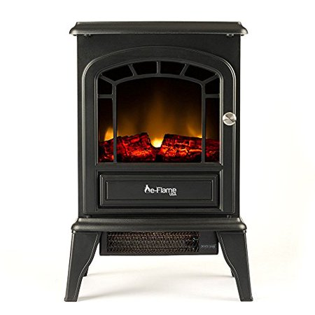 Aspen Free Standing Electric Fireplace Stove by e-Flame USA - Black ()
