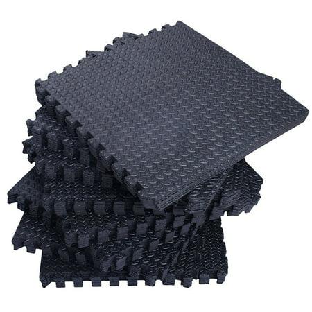 Zimtown 42 Pcs/54 Pcs Interlocking Foam Floor Tiles, 168Sq - 216Sq Eva Black Puzzle Exercise Mat, Protective Flooring Pad Gym Equipment Cushion, for Exercising, Yoga, Kids, Babies, Playroom,