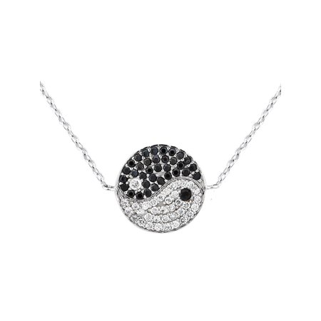 Black and White CZ Rhodium over Sterling Silver Ying Yang Pendant, 18