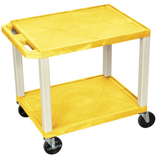 H. Wilson Tuffy 2-Shelf A/V Cart with Electric, Yellow Shelves and Putty Legs