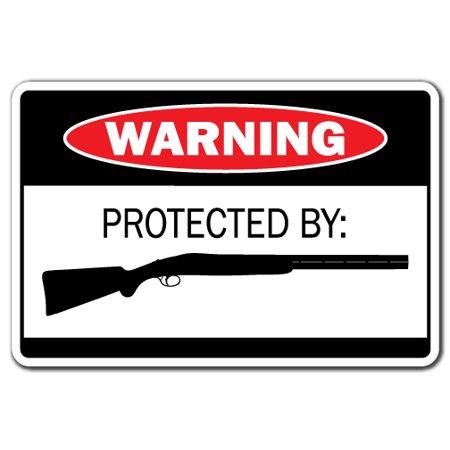 PROTECTED BY SHOTGUN Warning Decal ammo rifle pistol gun bullet revolver (Diameter Pistol Bullets)
