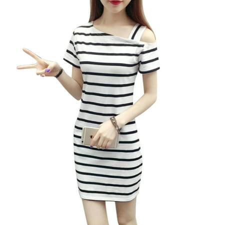 Women Fashionable Slim Design Delicate Stripe Printing Pullover Dress Off-shoulder Dress white S - Fashionable Cotton Black And White