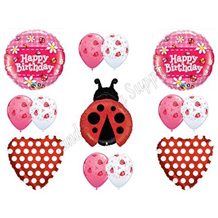 Red Polka Dot (LADYBUG RED POLKA DOTS Happy Birthday Balloons Decoration Supplies 1st 2nd)