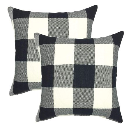 Tayyakoushi Daily Decorations Sofa Cushion Covers Zippered Retro Farmhouse Buffalo Tartan Checkers Plaid Cotton Linen Throw Pillow Case for Sofa 18 x 18 Inch, Set of 2, Black/White ()