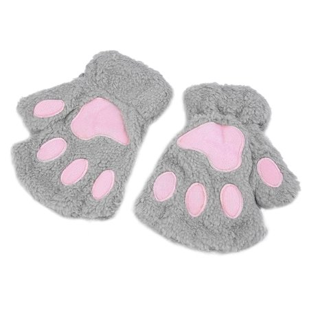 Sofe Women Winter Claw Gloves Fluffy Bear Paw Mittens Lady Half Finger Gloves - image 3 of 16