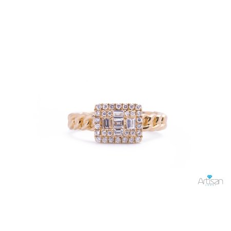 Cuban Link Baguette and Round Diamond Ring in 18k Yellow Gold