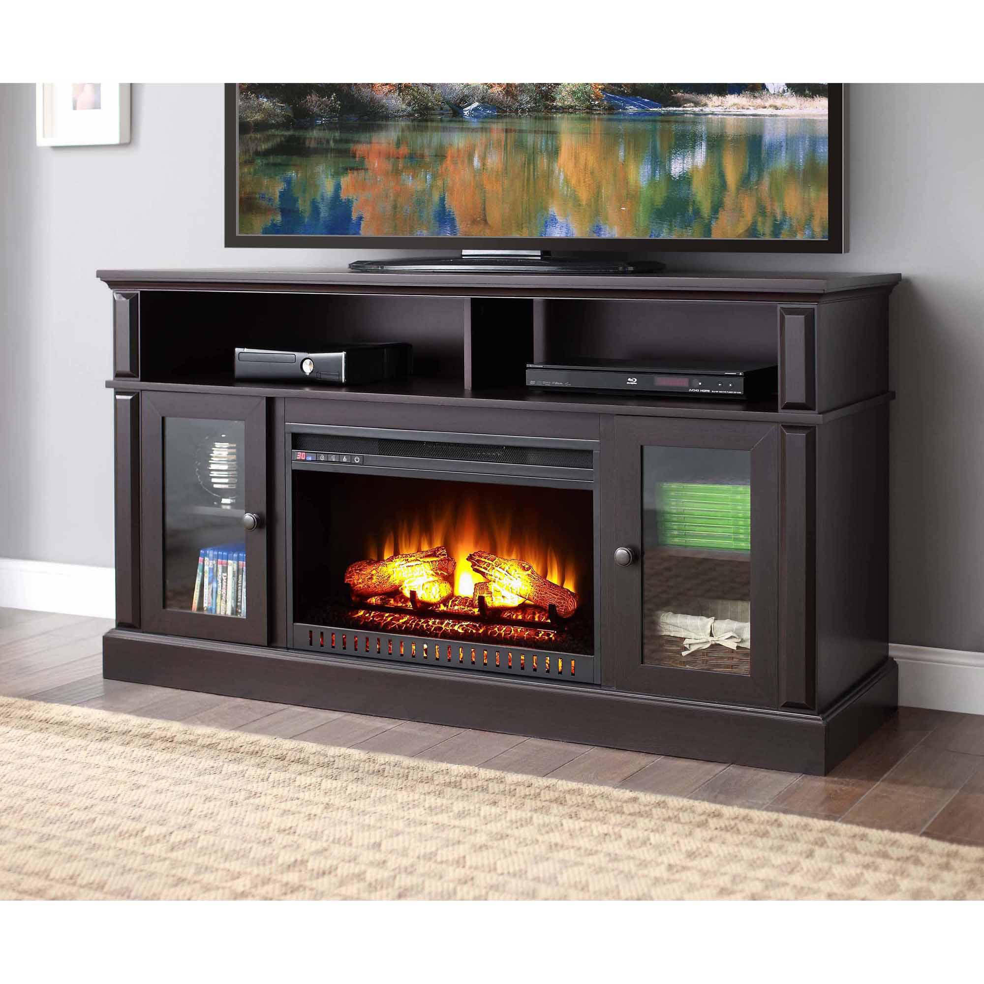 Southern Enterprises Griffin Electric Fireplace with Bookcases ...