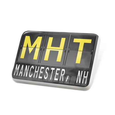 Porcelein Pin MHT Airport Code for Manchester, NH Lapel Badge – (Manchester Airport Stores)