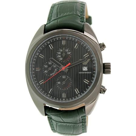 1c9bd77c Emporio Armani Men's Sportivo AR5936 Green Leather Analog Quartz Watch